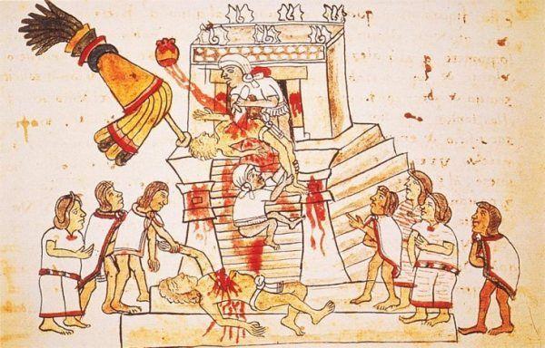 Aztekowie uważali, że tylko krwawa ofiara z ludzi może powstrzymać koniec świata (źródło: domena publiczna).