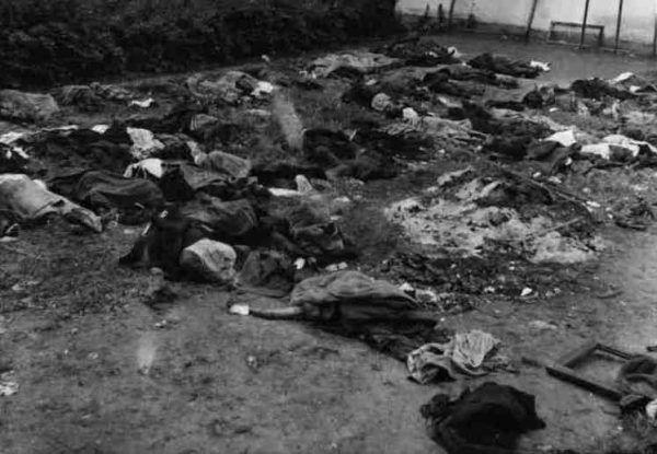 Wycofujące się przed Niemcami oddziały NKWD zamordowały dziesiątki tysięcy osadzonych. Na zdjęciu zwłoki ofiar na podwórzu więzienia przy ulicy Łąckiego we Lwowie (źródło: domena publiczna).