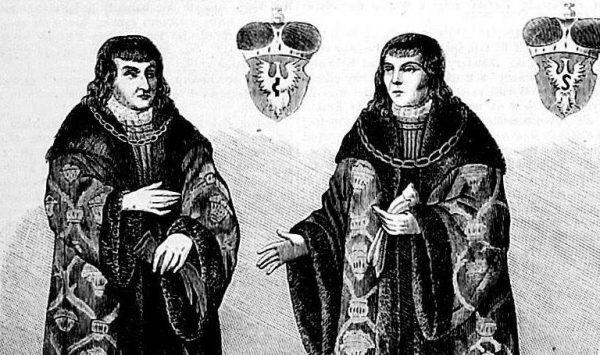 Ostatni książęta mazowieccy Janusz i Stanisław za kołnierz zdecydowanie nie wylewali. I to właśnie zamiłowanie do napojów wyskokowych najpewniej było przyczyną ich zgonu (źródło: domena publiczna).