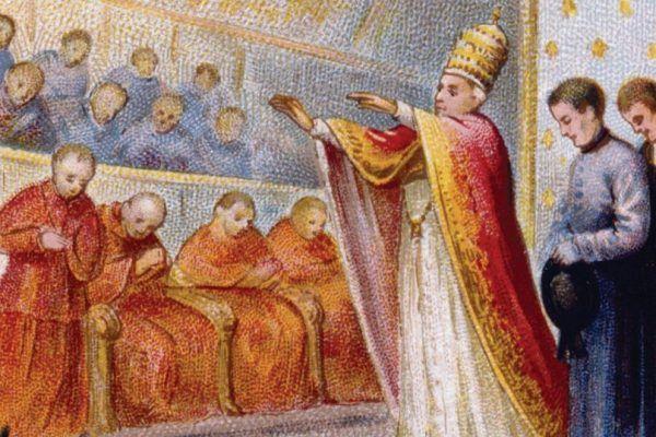 Papież Pius IX podczas Soboru Watykańskiego Pierwszego. Chromolitografia z około 1870 roku (Chocolaterie d'Aiguebelle, domena publiczna).