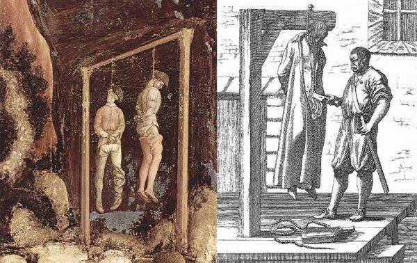 Powieszenie było najczęstszą metodą egzekucji w średniowieczu i nowożytności. Czasami, wieszaniu towarzyszyły jednak dodatkowe męki (źródło: domena publiczna).