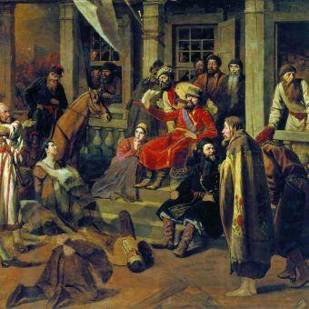 Ryba się psuje od głowy? Okrutne sądy buntownika Pugaczowa na obrazie Wasilija Pierowa z 1875 roku (źródło: domena publiczna).