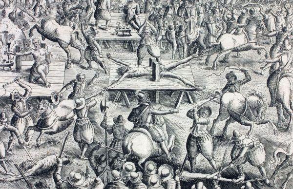 XVII-wieczna ilustracja przedstawiająca rozrywanie końmi skazańca (źródło: domena publiczna).