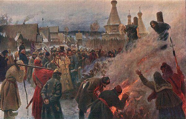 Palenie na stosie było jedną z form egzekucji stosowanych w całej nowożytnej Europie. Na ilustracji obraz Grigorija Miasojedowa (źródło: domena publiczna).