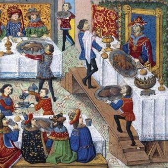 W trakcie ucztowania monarcha musiał uważać nie tylko na truciznę, ale również na to, aby się po prostu nie przejeść na śmierć (źródło: domena publiczna).