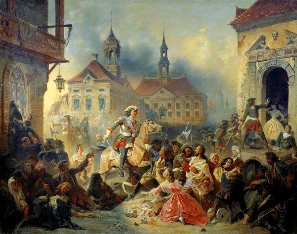 Bezwzględne wymierzanie kar przez Piotra I było normą. Na tym obrazie Nikołaja Sauerweida z 1859 roku widzimy, jak rozprawiał się z maruderami po zdobyciu Narwy (źródło: domena publiczna).