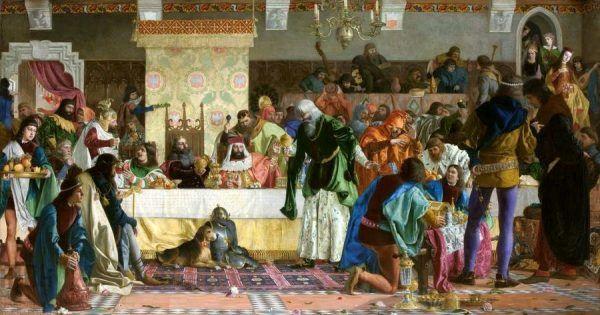 Pojedli? Zatem czas popić! Tak czynił to dziadek cioteczny Jadwigi, król Kazimierz III Wielki, na uczcie u Wierzynka. Obraz Bronisława Abramowicza z 1876 roku (źródło: domena publiczna).