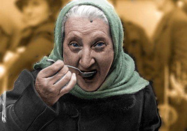 """Najważniejsze, by nie czuć głodu. Koloryzowane zdjęcie z książki """"Okupacja od kuchni""""."""