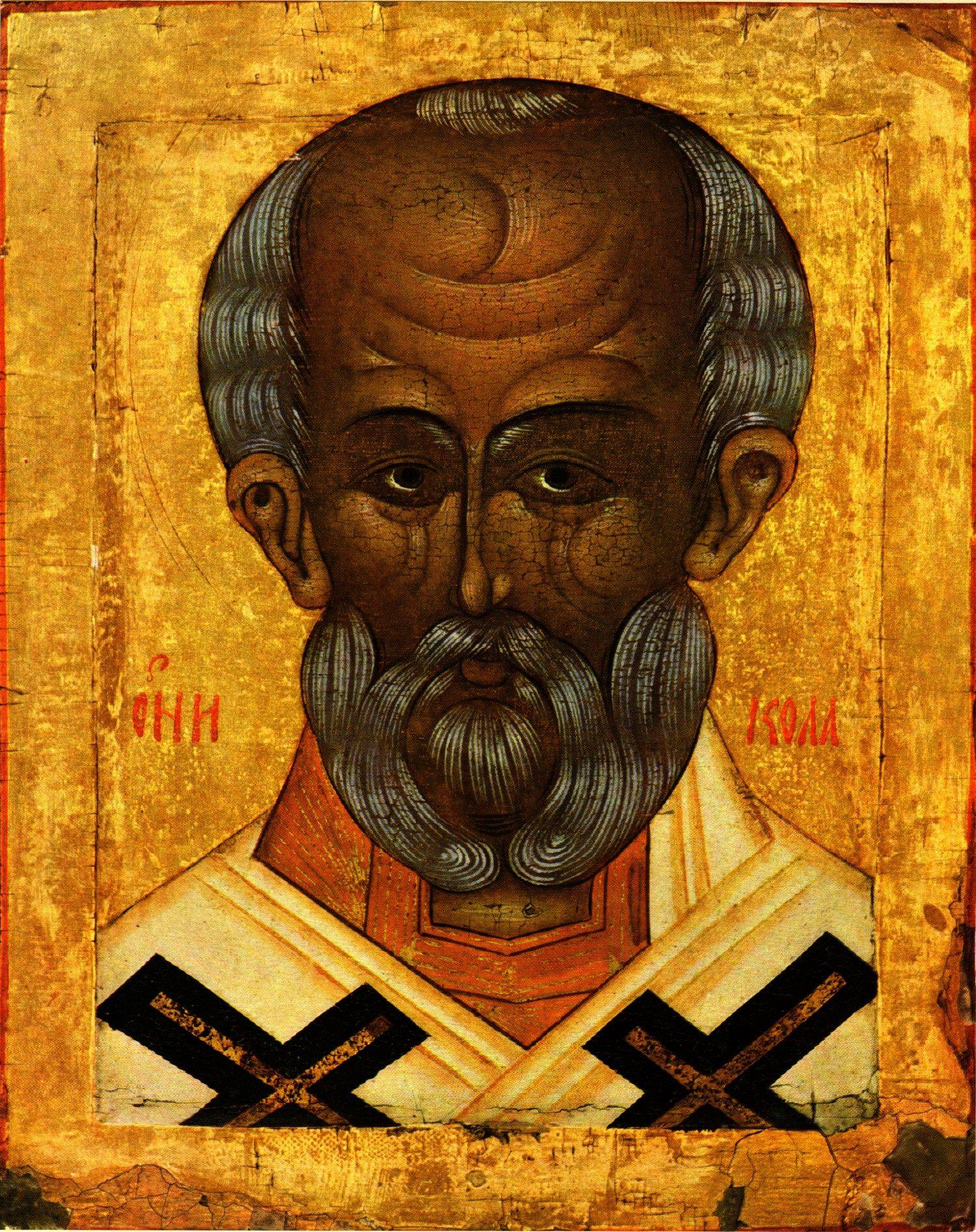 Święty Mikołaj na ruskiej ikonie z XVI wieku.