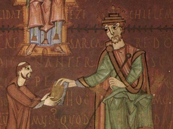 """Wytrawny polityk i bezwzględny władca. Taki właśnie był Henryk II. Tutaj na miniaturze z XI-wiecznego manuskryptu św. Grzegorza Wielkiego """"Moralia in Iob"""" (źródło: domena publiczna)."""