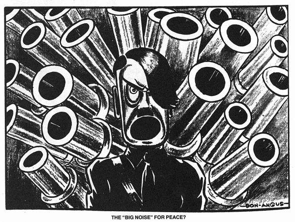 Ta konkretna karykatura Adolfa Hitlera autorstwa Angusa pochodzi jeszcze sprzed wojny, jednak wiemy, że i w obozach pojawiały się rysunki ośmieszające nazistowskich przywódców (źródło: domena publiczna).
