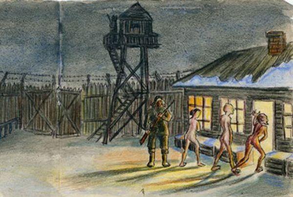 Widzimy tu fragment ilustracji pochodzącej z książki Eufrozinji Antonowny Kersnowskiej, która spędziła w Gułagu 12 lat, a swoje wspomnienia spisała i zilustrowała.