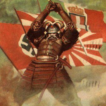 """""""Pakt Trzech"""". Plakat wojenny Gino Boccasile z 1941 roku (źródło: domena publiczna)."""