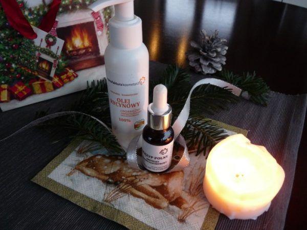 Na zdjęciu olej rycynowy i wodno-glicerynowy ekstrakt ze skrzypu polnego z firmy Manufaktura Kosmetyczna, będącej partnerem tego wpisu.