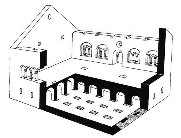 Sala o 24 słupach. Rekonstrukcja bryły wg Z. Pianowskiego, w oparciu o badania A. Szyszko-Bohusza.
