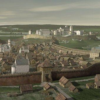 """Wawel we wczesnym średniowieczu. Fragment ilustracji z książki """"Damy ze skazą"""" (wizualizacja autorstwa Marcina Orkisza)."""