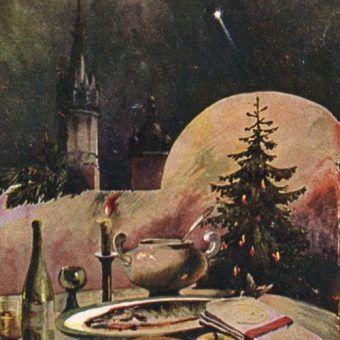 Pocztówka bożonarodzeniowa z lat trzydziestych. (Zdjęcie opublikowane na licencji CC BY SA, autor: Stanisław Tondos)