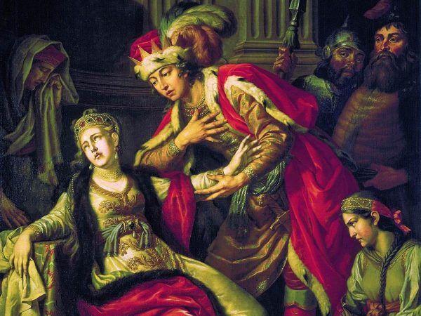 Haniebny czyn Bolesława nie był jedyny ani pierwszy w tamtym okresie. Także ojciec Przedsławy, Włodzimierz, zgwałcił jej matkę, nim ją poślubił. Obraz autorstwa Antona Łosienki, z 1700 roku (źródło: domena publiczna).