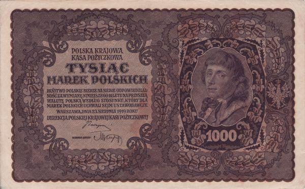Już od momentu odzyskania niepodległości w II Rzeczypospolitej krążyło mnóstwo podrobionych banknotów, także tych 1000-markowych, a więc o najwyższym nominale (źródło: domena publiczna).