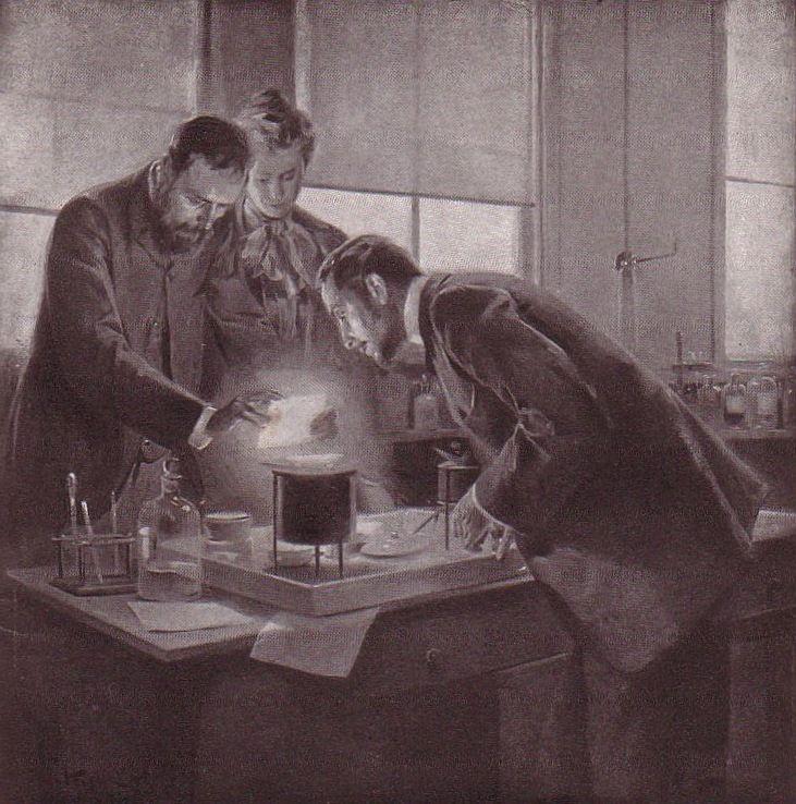 Maria i Piotr Curie sprawdzali działanie substancji aktywnych na własnej skórze. I nie przerywali eksperymentu, choć rana na ramieniu Piotra stawała się coraz głębsza (rys. André Castaigne, źródło: domena publiczna).