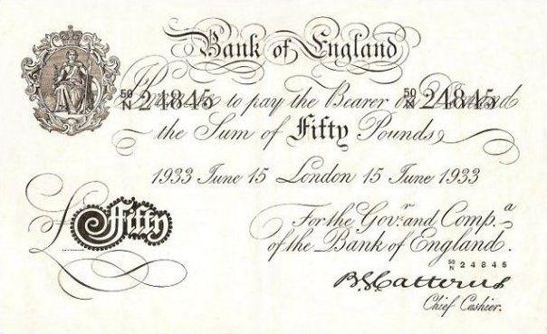 Niemcy chcieli zalać Wielką Brytanię podróbkami między innymi takich banknotów (źródło: domena publiczna).