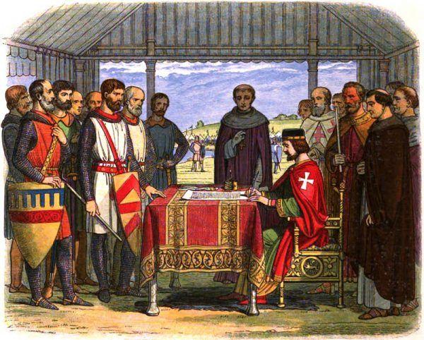 XIX-wieczne wyobrażenie króla Jana bez Ziemi podpisującego Wielką Kartę Swobód (źródło: domena publiczna).