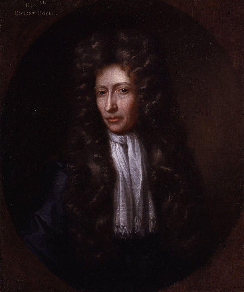 Robert Boyle zainteresował się chemią, szukając... nowych lekarstw, które chętnie testował na sobie i swoich znajomych. Podobno bardziej sobie tym szkodził, niż pomagał, choć na portrecie Johanna Kersebooma wygląda jeszcze całkiem zdrowo (źródło: domena publiczna).