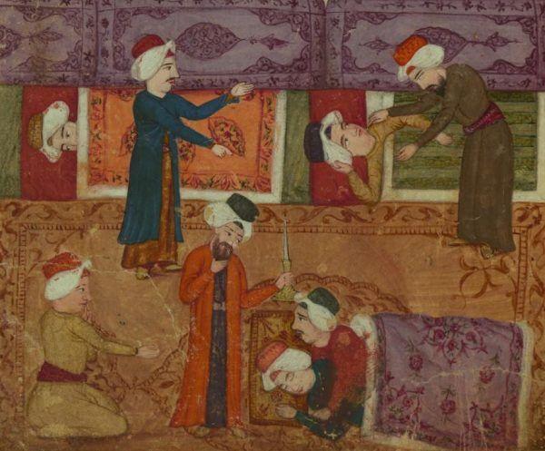 Tak wyglądała reakcja na parę homoseksualną przyłapaną na gorącym uczynku według XVIII-wiecznego perskiego manuskryptu. W PRL-u było niewiele lepiej... (domena publiczna).