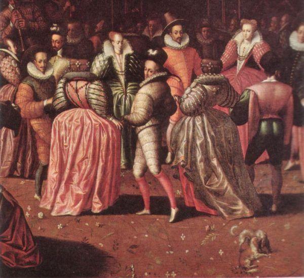 Bal u króla Henryka III pędzla nieznanego autora. Henryk przyszedł w stroju męskim... Wiemy jednak, że zdarzało się też inaczej (źródło: domena publiczna).