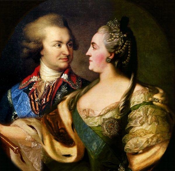 """""""Złoty bażant"""" i jego """"gorąca kobieta"""" na współczesnym kolażu portretu Potiomkina pędzla Lampiego i Katarzyny II pędzla Fiodora Rokotowa (autor: Shakko, lic. CC BY-SA 3.0)."""