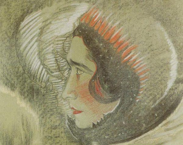 """Nie wszystkie studentki zachowywały się jak """"świeckie święte"""". Choćby Irena Krzywicka, która zamierzała stracić cnotę ze swym profesorem. Fragment portretu pisarki pędzla Witkacego z 1928 roku (domena publiczna)."""