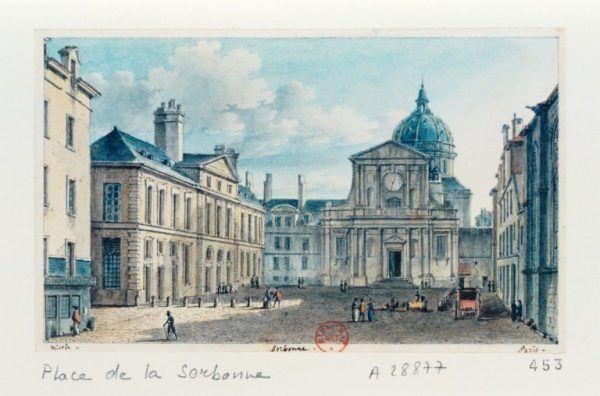 Studia na Sorbonie były właściwym początkiem kariery Skłodowskiej. Niedługo po ich ukończeniu poznała swojego przyszłego męża, Pierre'a Curie. Na ilustracji plac i kaplica Sorbony na początku XIX w. (źródło: domena publiczna).
