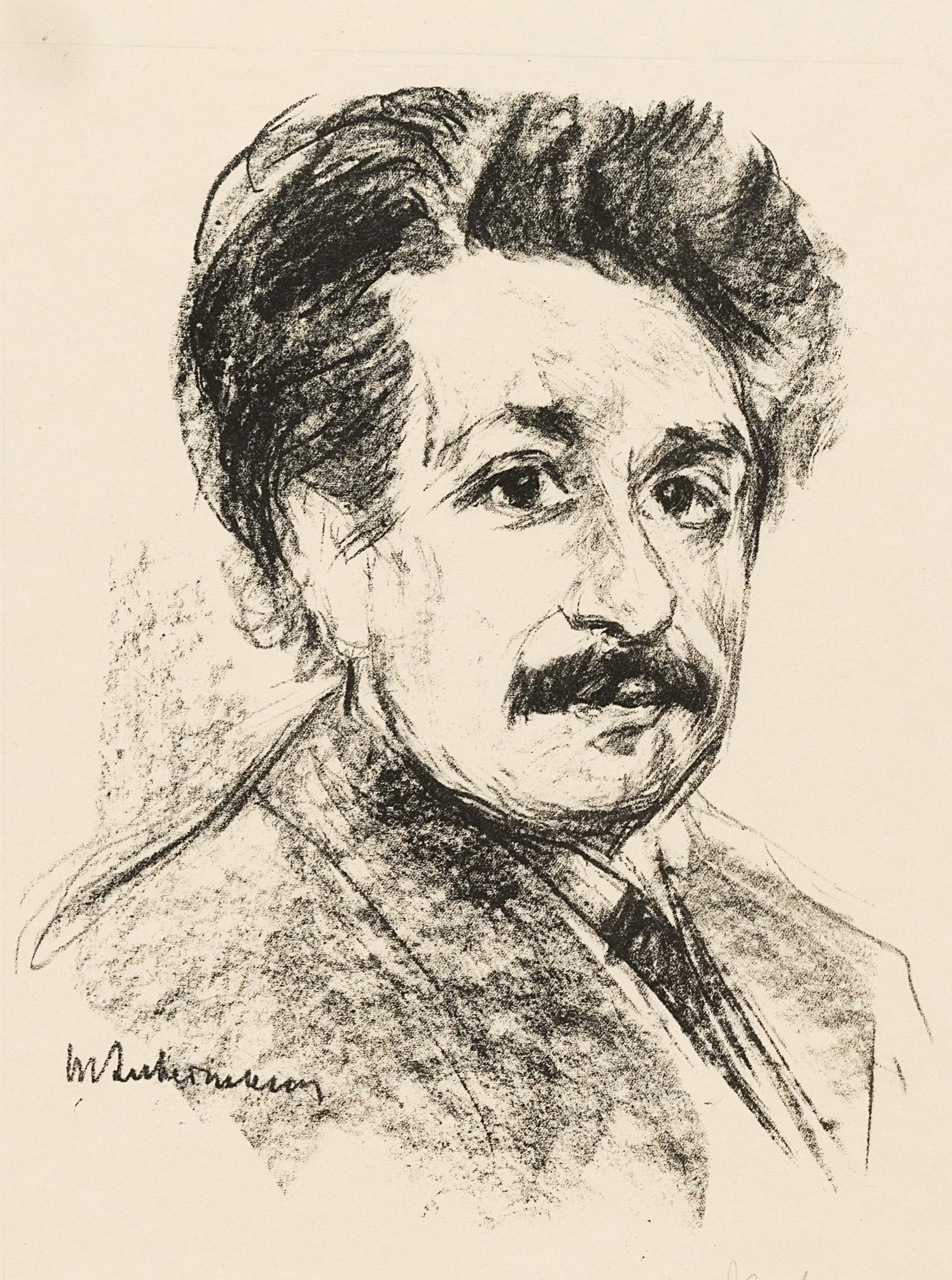 Człowiek, który okradł swoją żonę z jej życiowego szczęścia, naukowego dorobku? Litografia przedstawiająca Alberta Einsteina w 1925 roku, wykonana przez Maxa Liebermanna (domena publiczna).