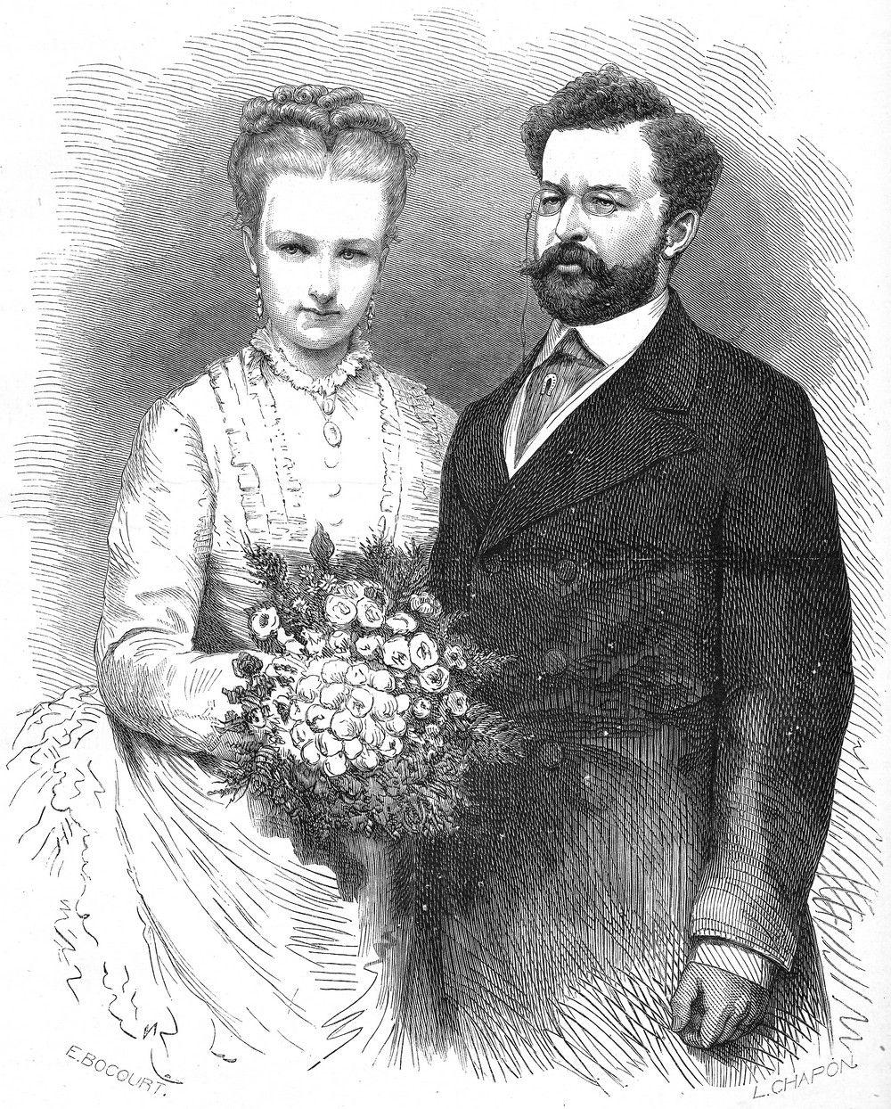 Niedobrane małżeństwo Luizy i Filipa źle się zaczęło, a potem było jeszcze gorzej. Akwaforta na podstawie zdjęcie ślubnego z 1875 roku (projekt: Etienne Bocourt, wykonanie: Léon-Louis Chapon, fotografia: Géruzet Frères; domena publiczna).