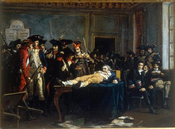 Po południu 9 termidora Robespierre został poważnie ranny, więc na posiedzenie 10 termidora przyniesiono go na noszach, jak pokazuje obraz L.-E. Melingue'a (fot. Rama, lic. CC BY-SA 2.0 FR).