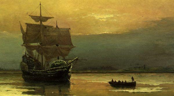 """W momencie, gdy załoga """"Mayflower"""" przybijała do brzegów Ameryki, nikt nie spodziewał się, że to początek historii nowego mocarstwa. Na ilustracji obraz """"Mayflower"""" w Plymouth Harbor pędzla Williama Halsalla (źródło: domena publiczna)."""