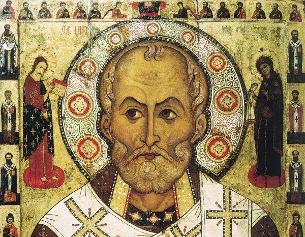 Święty Mikołaj z Miry, patron rozdawania prezentów... i polskiej dynastii panującej! Święty na ikonie Aleksieja Petrova z 1294 roku (domena publiczna).