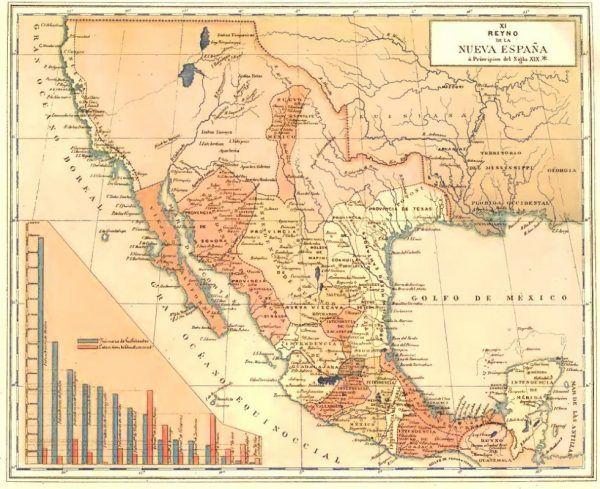 Wicekrólestwo Nowej Hiszpanii obejmowało znaczny obszar dzisiejszych Stanów Zjednoczonych, całą Amerykę Środkową oraz fragment Wenezueli (źródło: domena publiczna).