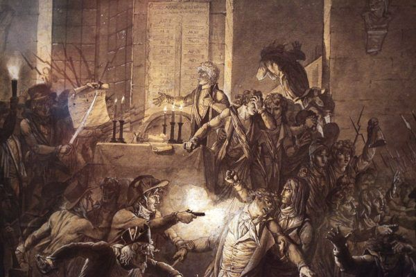 Wiadomość o zatrzymaniu Robespierre'a wywołała w Paryżu prawdziwe zamieszki, jak pokazuje rysunek F.-J.Harrieta (fot. Rama, lic. CC BY-SA 2.0 FR).