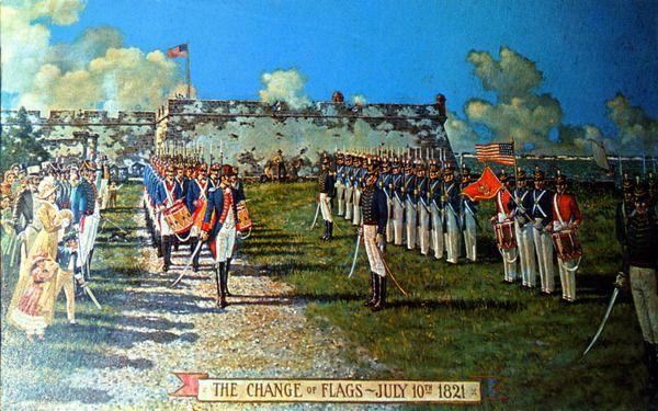 Już w 1819 roku Amerykanie kupili od Hiszpanów Florydę. Na ilustracji moment oficjalnego przejęcia tego terytorium w 1821 roku (źródło: domena publiczna).