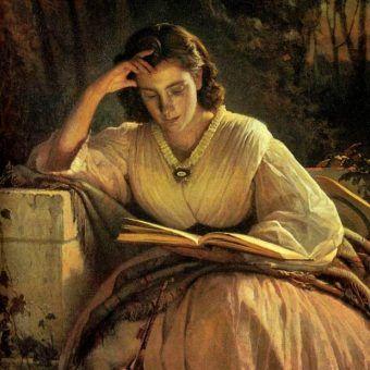 """""""Czytająca kobieta"""" - obraz Iwana Rimskiego z 1863 roku (domena publiczna)."""
