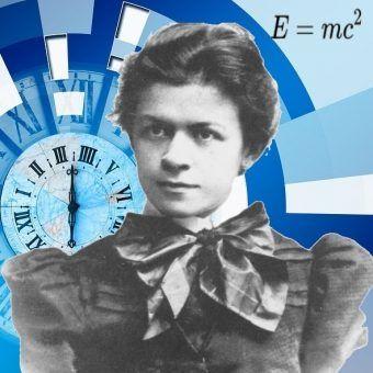 Mileva Marić - zapomniana i niedoceniana żona Einsteina. Na pierwszym planie jej zdjęcie z 1896 roku, w tle grafika geralta z pixabay (domena publiczna).