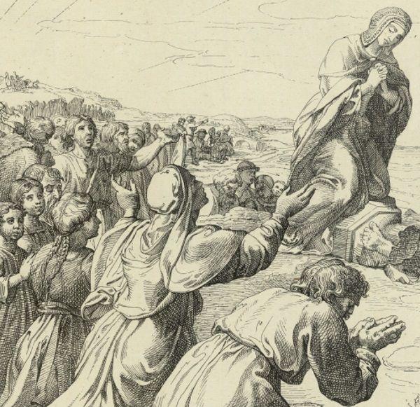 Dumna Dobrawa wcale nie zamierzała realizować każdej zachcianki Mieszka... Rysunek na podstawie XIX-wiecznej litografii.