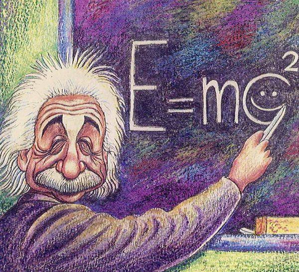 """Dobrotliwy starszy pan z włosami we wszystkie strony, który mówi genialne w swej prostocie rzeczy. Takiego Einsteina zapamiętaliśmy. Ale czy to na pewno jego równanie? Obraz irańskiego artysty Javada Alizadeha zatytułowany """"Amazing Formula"""" (lic. CC BY-SA 3.0)."""