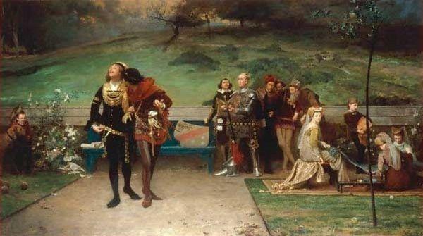 """Król, nie zważając na nieprzychylne spojrzenia dworzan, spędzał miło czas ze swoim ukochanym (obraz Marcusa Stone'a """"Edward II i jego faworyt, Piers Gaveston"""", domena publiczna)."""