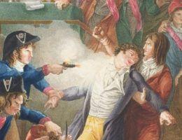 Aresztowanie Robespierre'a (tu przedstawione na obrazie J.-J.-F. Tassaerta) było zaskoczeniem dla wszystkich. Jeszcze dzień wcześniej ten najbardziej rozpoznawalny przywódca rewolucji francuskiej sam planował czystki (źródło: domena publiczna).