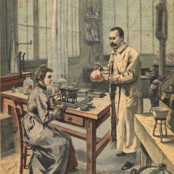 Niektórzy, tak jak przedstawieni na ilustracji Maria Skłodowska-Curie i Piotr Curie, dla nauki są gotowi poświęcić nie tylko czas i pieniądze, ale także własne zdrowie (źródło: domena publiczna).