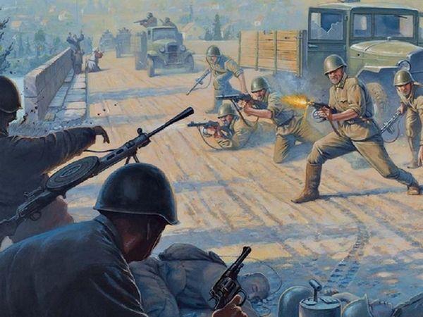 "Atak na Majkop. Fragment okładki książki ""Behind Soviet Lines. Hitler's Brandenburgers capture the Maikop Oilfields 1942"" Davida R. Higginsa (seria Osprey)."