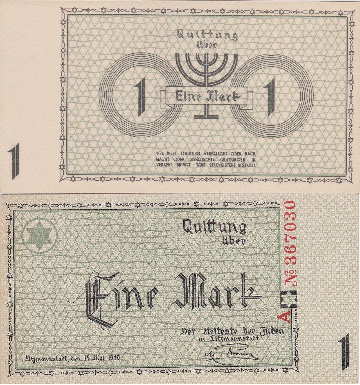 Rumki, czyli markowe kwity, będące walutą łódzkiego getta, podrabiał między innymi Rochwerger. Zanim wpadł, wyprodukował ponad 5 tysięcy banknotów! (źródło: domena publiczna).
