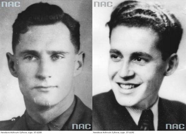 Porucznik Alfred Zawadzki (z lewej) i porucznik Roman Wiszniowski (z prawej). Źródło: domena publiczna.